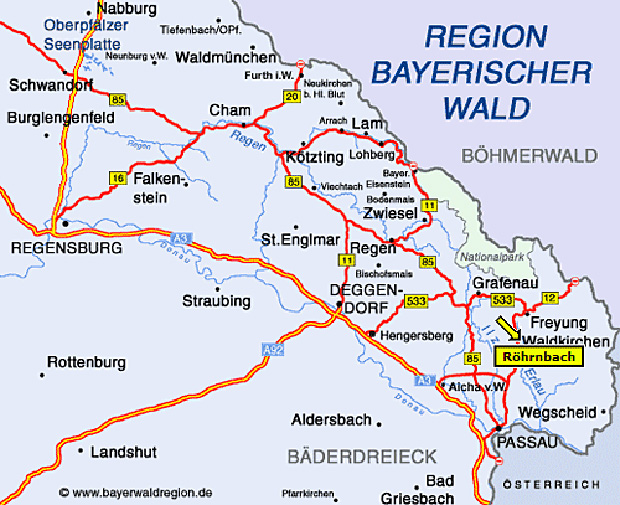 Anfahrtskizze Ferienhaus Bayerischer Wald, Urlaub Bayern